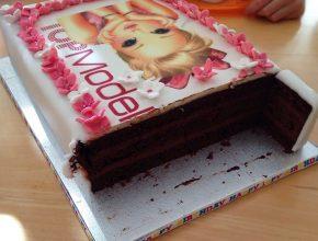 Anschnittfoto mit Blick auf den Wunderkuchen und die Schokomousse-Füllung